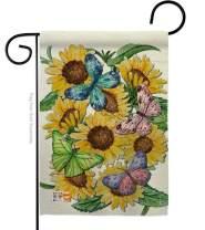 "Breeze Decor G154093-P3 Butterflies On Sunflower Spring Floral Impressions Decorative Vertical 13"" x 18.5"" Garden Flag"