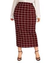 Verdusa Women's Plus Size Plaid Print Bodycon Midi Skirt
