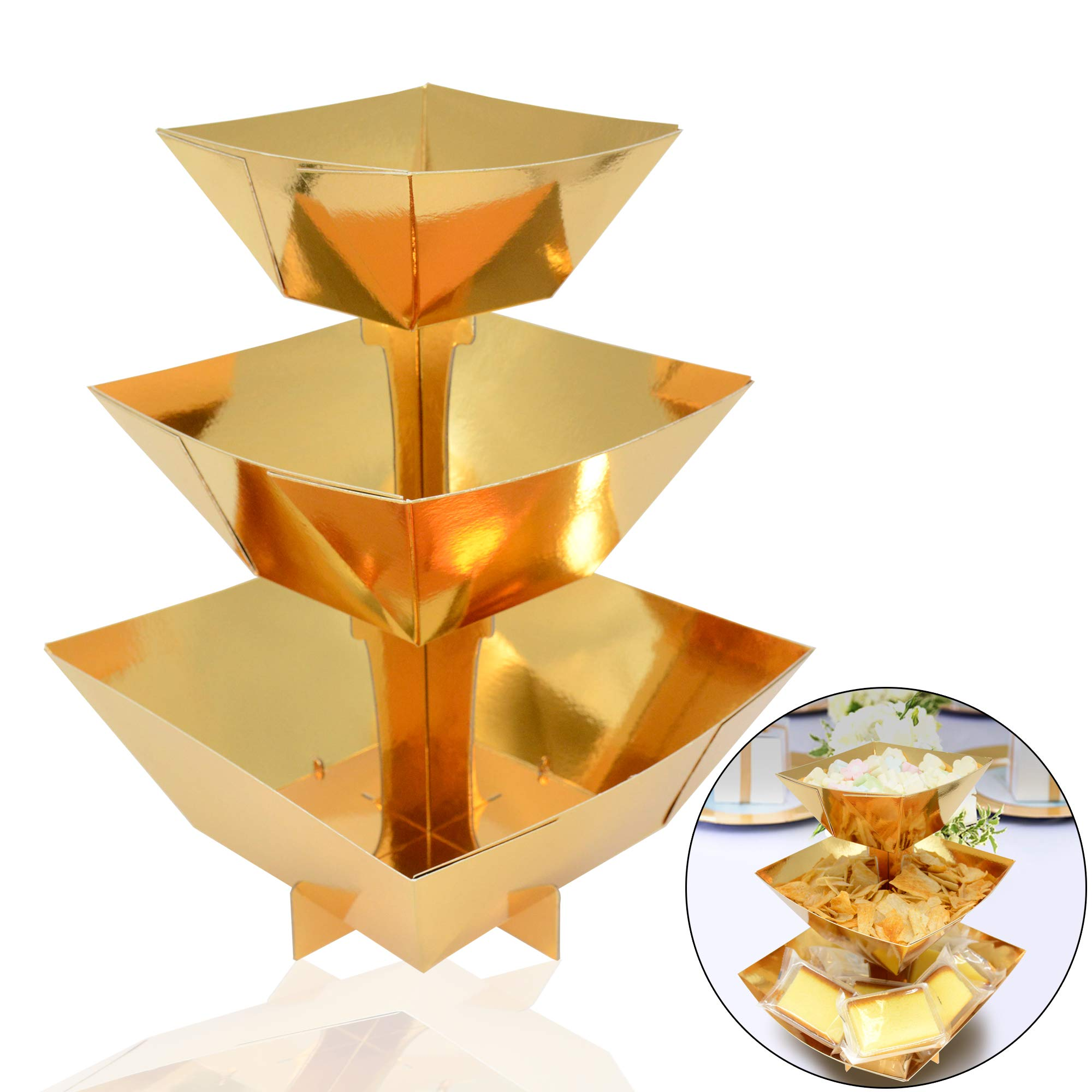 Cardboard Gold Dessert Display Dessert Stand Candy Snack Cupcake Stand Party Supplies Cake Stand Bowl Stand, Tower Display for Birthday 30th 40th 50th 70th Wedding Anniversary Party Supplies