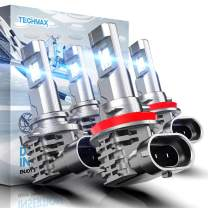 TECHMAX 9005 H11 LED Bulbs Combo, HB3 H8 H9 Windless Direct Insertion 50W 6500K Xenon White CREE Chips of 4 Halogen Replacement