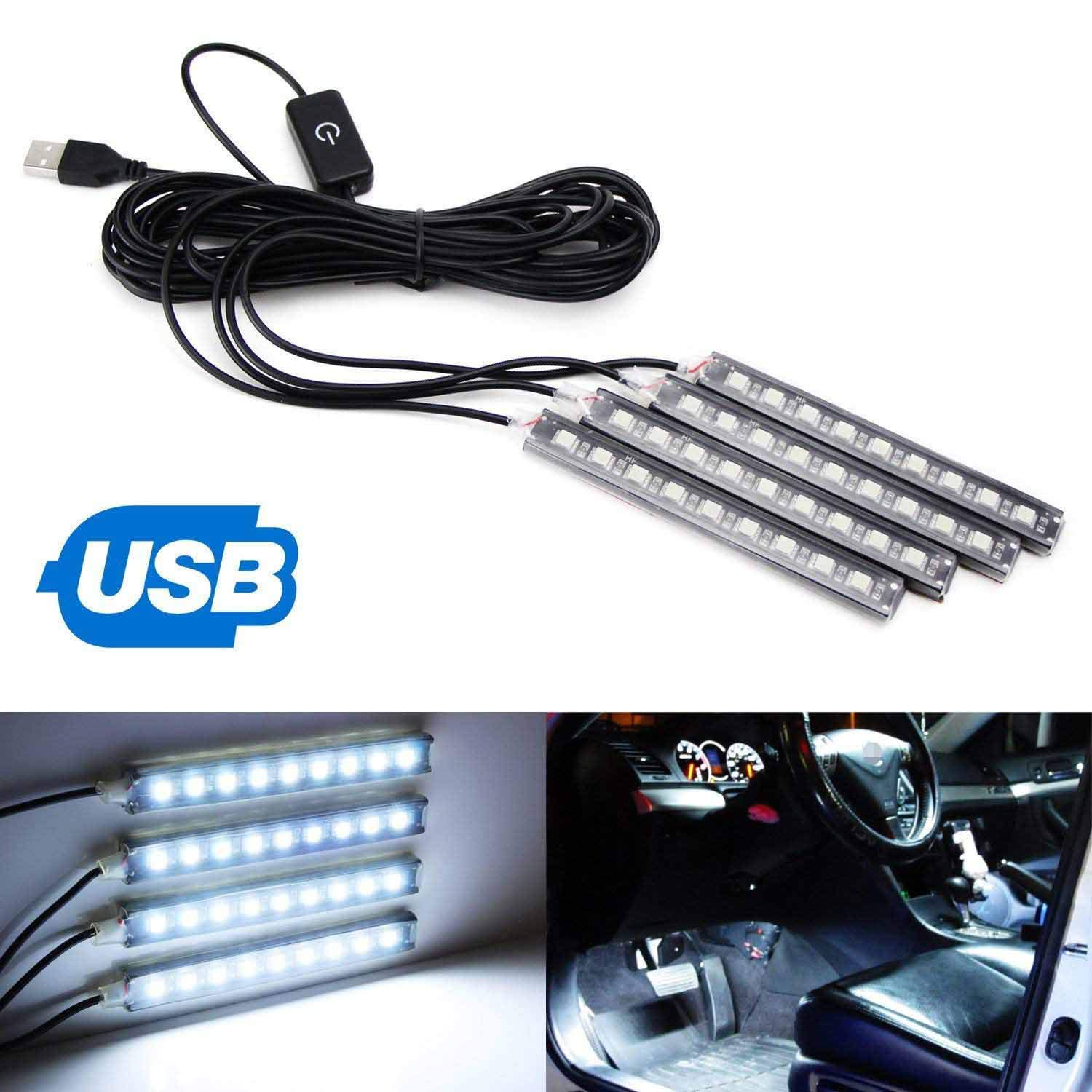 iJDMTOY 4pc 5-Inch 36-SMD LED Ambient Styling Lighting Kit As Car Interior Decoration, Powered From Car 5V USB Socket, Xenon White