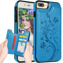 iPhone 8 Plus Wallet Case,iPhone 7 Plus Case Wallet for Women,Auker Slim Fit Butterfly Embossed Folio Flip Leather Folding Stand Magnetic Back Wallet Purse Case with Card Holder/Money Pocket (Blue)