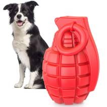 IOKHEIRA Squeaky Dog Toys for Aggressive Chewers Almost Tough Durable Indestructible Dog Chew Toys for Medium Large Dogs,Interactive Pet Dog Toys with Non-Toxic Natural Rubber (Crimson)