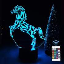 FULLOSUN Horse 3D LED Lamp Night Light Projection with 16 Color Changing Baby Nursery Nightlight for Kids Room Home Decor Xmas Birthday Gifts