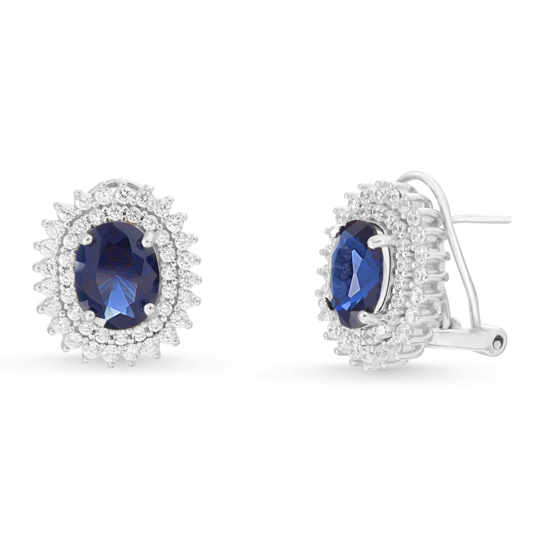 MIA SARINE Sterling Silver Oval Cut Simulated Blue Sapphire and Cubic Zirconia Bridal Stud Earrings for Women with Omega Backs