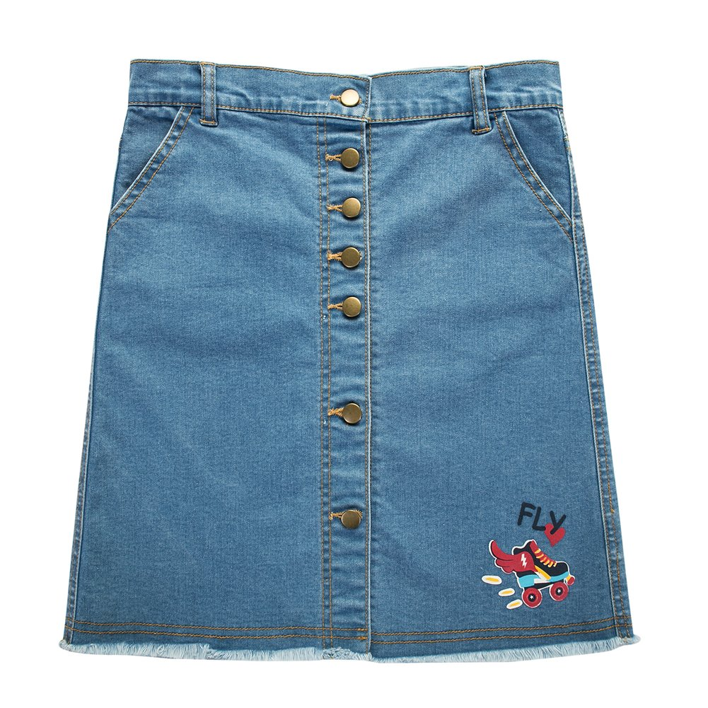 UNACOO Girls' Botton Front Cut-Off Denim Skirt A-line Short Jeans Skirt (Age 3-12 Years)