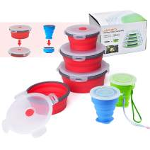 6 PCS Collapsible Food Storage Bowls Set, Silicone Collapsible Lunch Box with BPA Free Lids, Microwave, Freezer, Flat Stacks Portable Food Container Meal Bento Boxes for Outdoor Camping Sandwich Salad