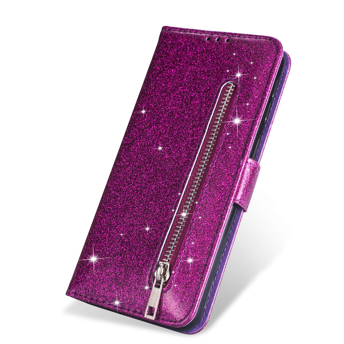 """ZCDAYE Wallet Case for iPhone 11 Pro,Bling Glitter Sparkly Zipper PU Leather Magnetic Flip Folio Card Pockets Holder with Wrist Strap Stand Protective Case Cover foriPhone 11 Pro 5.8"""" - Purple"""