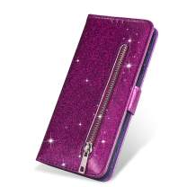 "ZCDAYE Wallet Case for iPhone 11 6.1"",Bling Glitter Sparkly Zipper PU Leather Magnetic Flip Folio Card Pockets Holder with Wrist Strap Stand Protective Case Cover for iPhone 11 6.1"" - Purple"