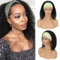 HeadBand Wig Deep Curly Wigs Glueless None Lace Front Wigs Machine Made Headband Wig for Black Women (14 Inch black)