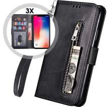 iPhone 11Pro Wallet Case with Strap for Women/Men,Wallet Case iPhone 11 Pro,Auker Card Holder Kickstand Deature Slim Protective Folio Flip Leather Magnetic Folding Zipper Pocket Wallet Case (Black)