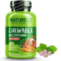 NATURELO Chewable Multivitamin for Children - with Natural Vitamins, Whole Food Minerals, Organic Fruit, Vegetable Extracts - Best Vegan, Vegetarian Supplement for Kids - 60 Tablets