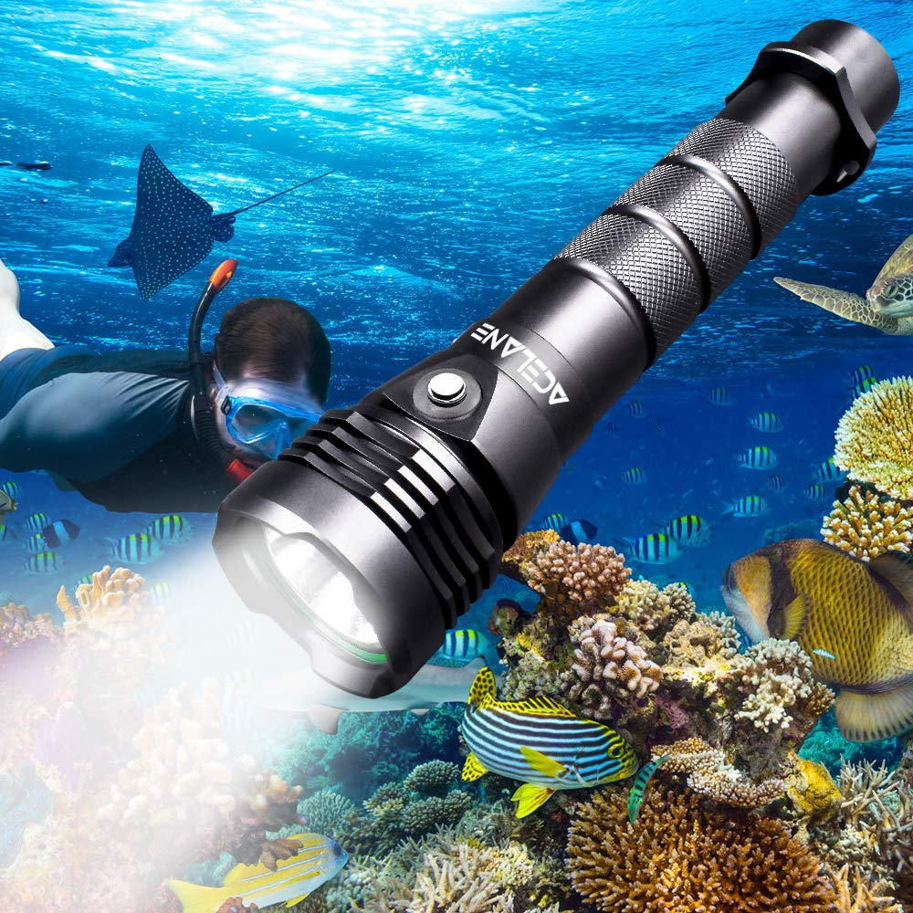 Acelane Dive Light Scuba Diving Flashlight Underwater Diving Light 80M 2000 Lumens Waterproof Torch Light Submarine Lights with Rechargeable 26650 Battery & USB Charger