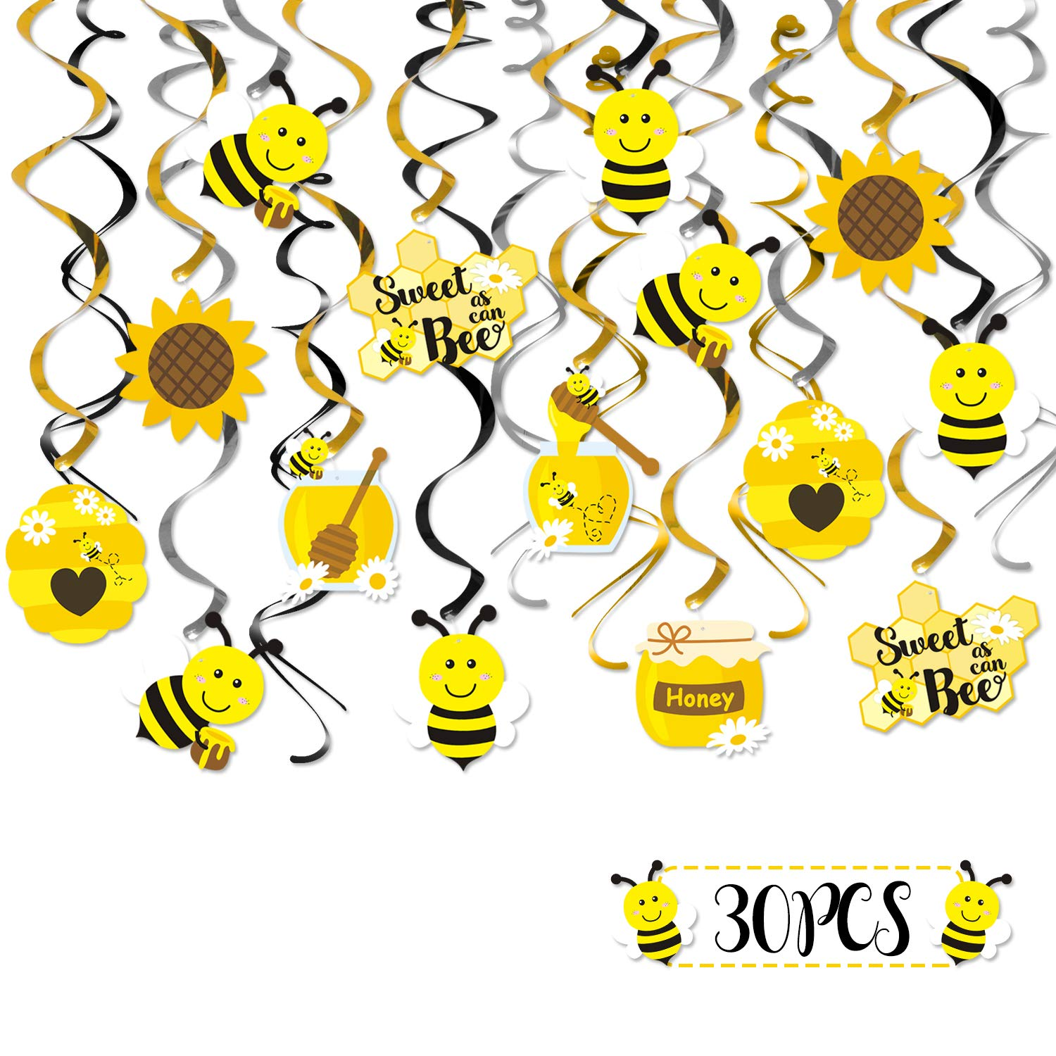 Faisichocalato Honey Bumble Bee Hanging Swirl Decoration Ceiling Streamers for Bee Themed Birthday Party Sweet as Can Bee Baby Shower Gender Reveal Bridal Shower Supplies