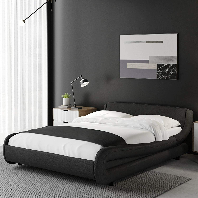 Kealive Upholstered Full Platform Bed Frame, Solid Faux Leather Modern Bed Frame with Adjustable Headboard, Mattress Foundation with Strong Wood Slat Support, Black, Full