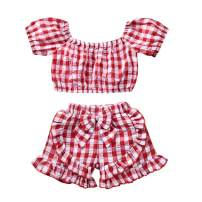 Toddler Baby Girls Outfits Plaid Shirts Tops and Ruffled Bowknot Short Pants Summer Clothes Sets