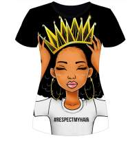 Women's T-Shirts Black History Month Afro Word Art Natural Hair 3D Floral Print Casual Tops for Women Tees