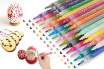 Acrylic Paint Pens for Easter Eggs Rocks Wood Glass Ceramic Canvas Painting Art Crafts Decoration - JR.WHITE Fine Tip Acrylic Paint Markers Set of 28 Colors