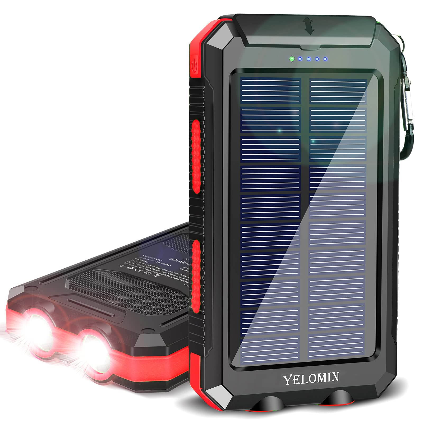 Solar Charger,YELOMIN 20000mAh Portable Waterproof Solar Power Bank for Cellphones External Backup Battery Pack Built-in Dual USB Outputs/LED Flashlights,Compatible with Tablets and Other Devices(Red)