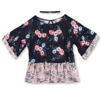 Speechless Girls' Big Mixed Print Fashion Top and Necklace