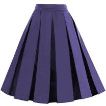 Dressever Women's Vintage A-line Printed Pleated Flared Midi Skirts Navy Blue XX Large