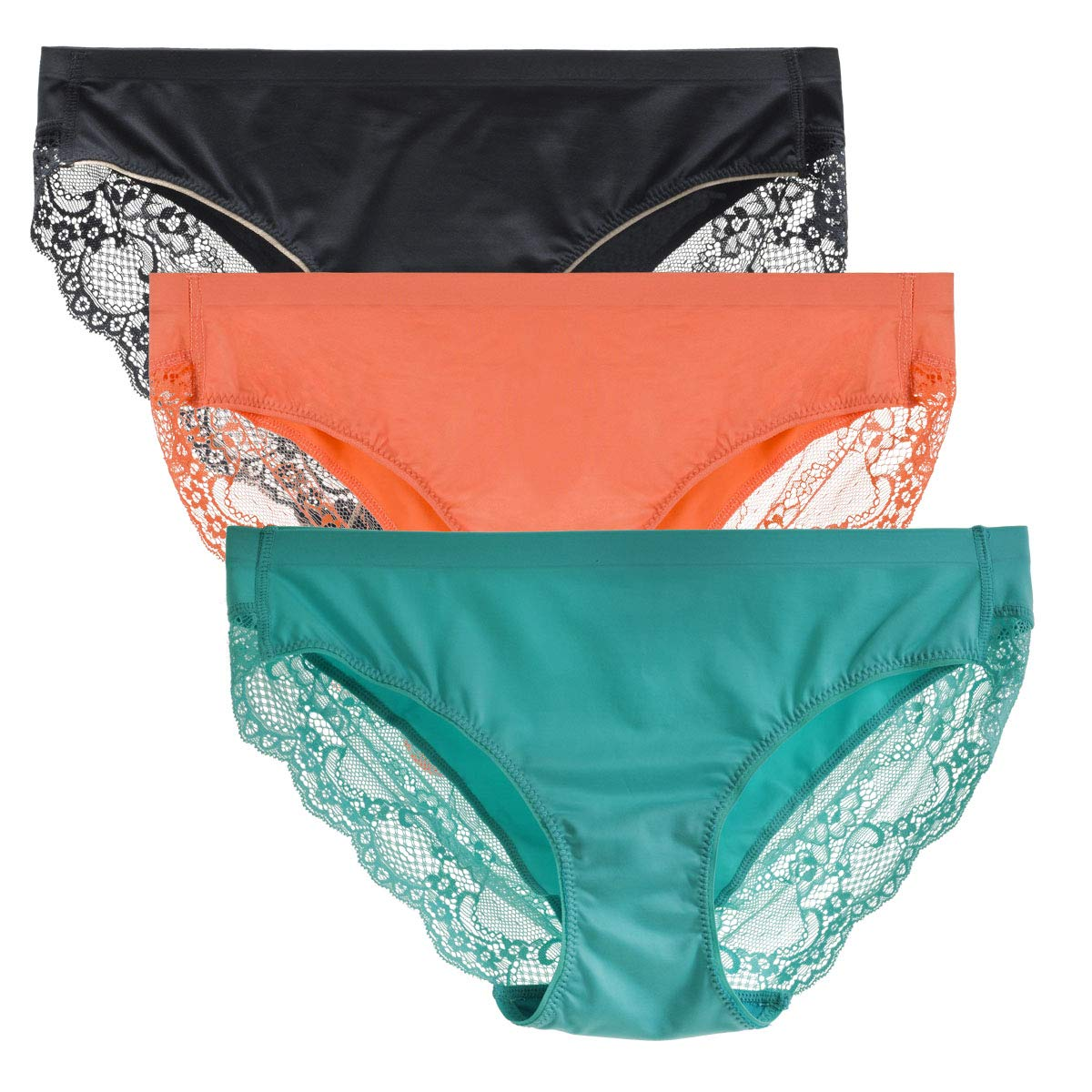 LIQQY Women's 3 Pack Comfortable No Ride up Lace Trim Bikini Panty Underwear (Medium, Black/Blue/Orange)