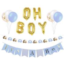 Baby Shower Decorations for Boy, Elephant Baby Shower Decorations, Set Includes: its a boy Banner, oh boy Balloons,Elephant Garland,Blue,White and Gold Confetti Balloons, Baby boy Party Supplies