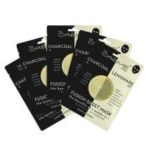 The Crème Shop - Fusion Full Face Masks, Korean Facial Skin Care and Moisturizer - Hyaluronic Acid Charcoal and Lemon for Hydrating, blackhead remover, scar cream Natural Beauty Essence - 5 Sheets Set