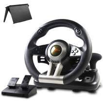 Game Racing Wheel, PXN-V3II 180° Competition Racing Steering Wheel with Universal USB Port and with Pedal, Suitable for PC, PS3, PS4, Xbox One, Xbox Series S&X, Nintendo Switch - Black
