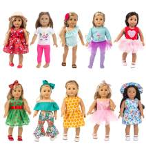 HOAYO 21 Pcs Girl Doll Clothes Dress and Accessories for American 18 Inch Dolls, 10 Sets Girl Doll Outfits with Hair Bands, Hats