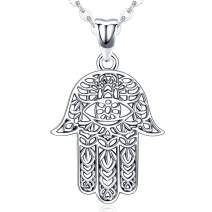 Hamsa Necklace 925 Sterling Silver Good Luck Charm Pendant,Vintage Fatima Hand Evil Eye Pendant Jewelry,Lotus Friendship Necklace Muslim Jewelry Gifts for Men Women (with Gift Box)