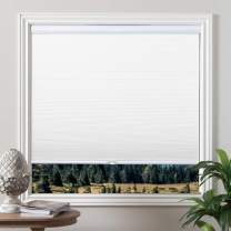 Grandekor Blackout Shades Cordless Blinds Cellular Fabric Blinds Honeycomb Door Window Shades 23x64, White-White
