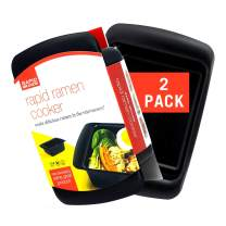 Rapid Ramen Cooker   Microwave Ramen in 3 Minutes   Perfect for Dorm, Small Kitchen, or Office   Dishwasher-Safe, Microwaveable, BPA-Free (Black 2 Pack)