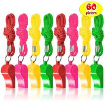 THE TWIDDLERS 60PCS Plastic Whistles Toys Bulk | Assorted Nylon Braided Cord Lanyards Neon Color | Kids Birthday Party | Goodie Bag Filler Easter Party Favors Toys | Football Basketball Other Sports
