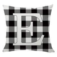 HANGOOD Alphabet Letter E Decorative Throw Pillow Covers 18x18 Buffalo Check Plaid Black and White Cotton Linen Cushion Cover 45cm x 45cm E