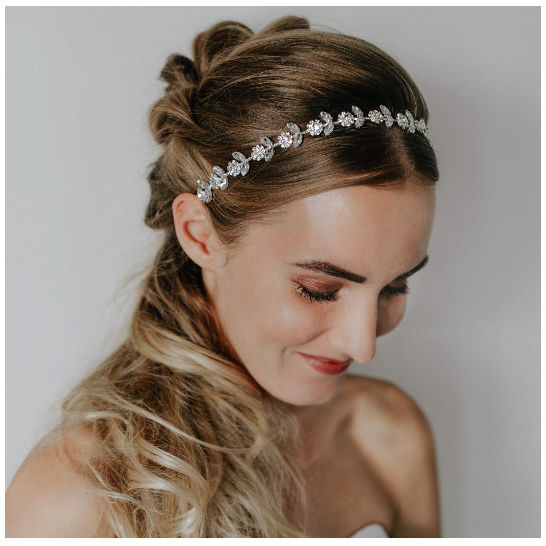 SWEETV Rhinestone Bridal Headpiece Crystal Wedding Headband Silver Hair Accessories for Bride Flower Gilr Baby Girl