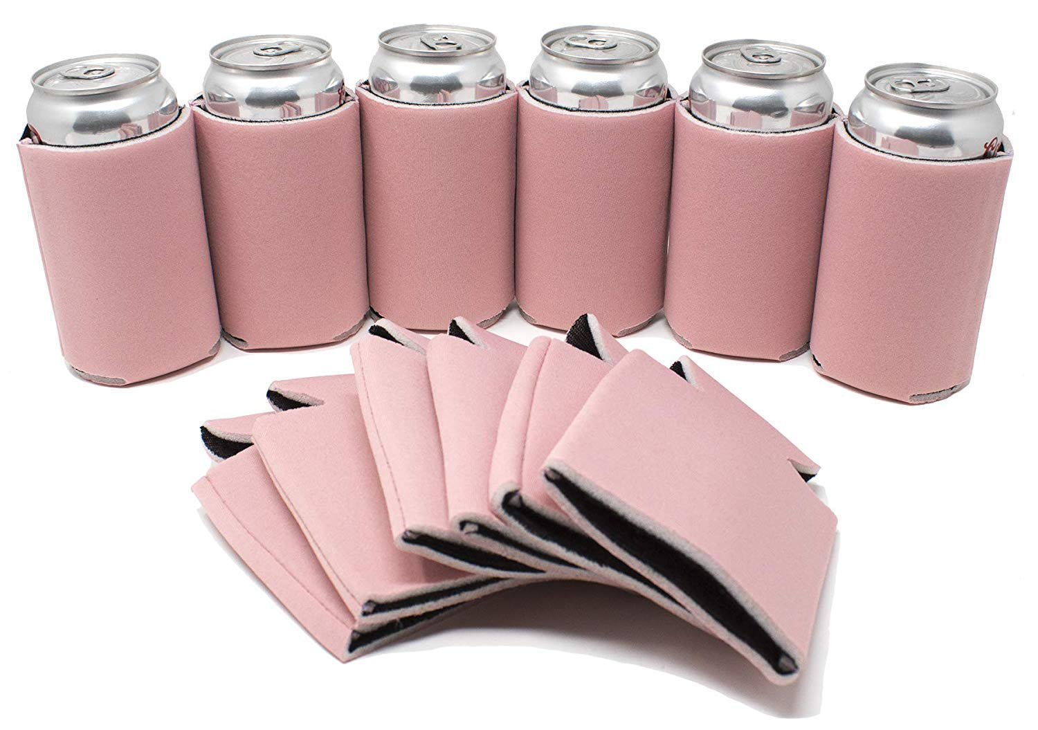TahoeBay 25 Blank Beer Can Coolers, Plain Bulk Collapsible Soda Cover Coolies, DIY Personalized Sublimation Sleeves for Weddings, Bachelorette Parties, Funny HTV Party Favors (Blush, 25)