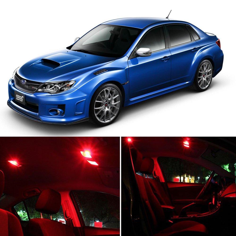 cciyu 194 LED Bulbs Xenon Red 6000k Super Bright, T10 LED Bulbs, 168 LED Bulb,Fits for 2004-2014 Subaru Impreza WRX STI Car Interior Map Lights,Glove Box Lights,Spare lights,Pack of 8