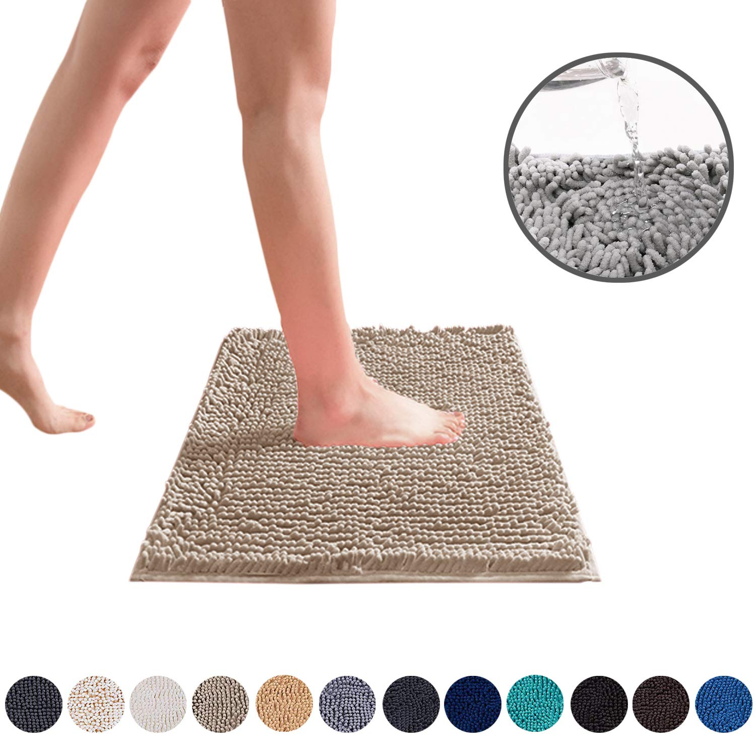 DEARTOWN Non-Slip Shaggy Bathroom Rug,Soft Microfibers Chenille Bath Mat with Water Absorbent, Machine Washable (20x32 Inches, Beige)