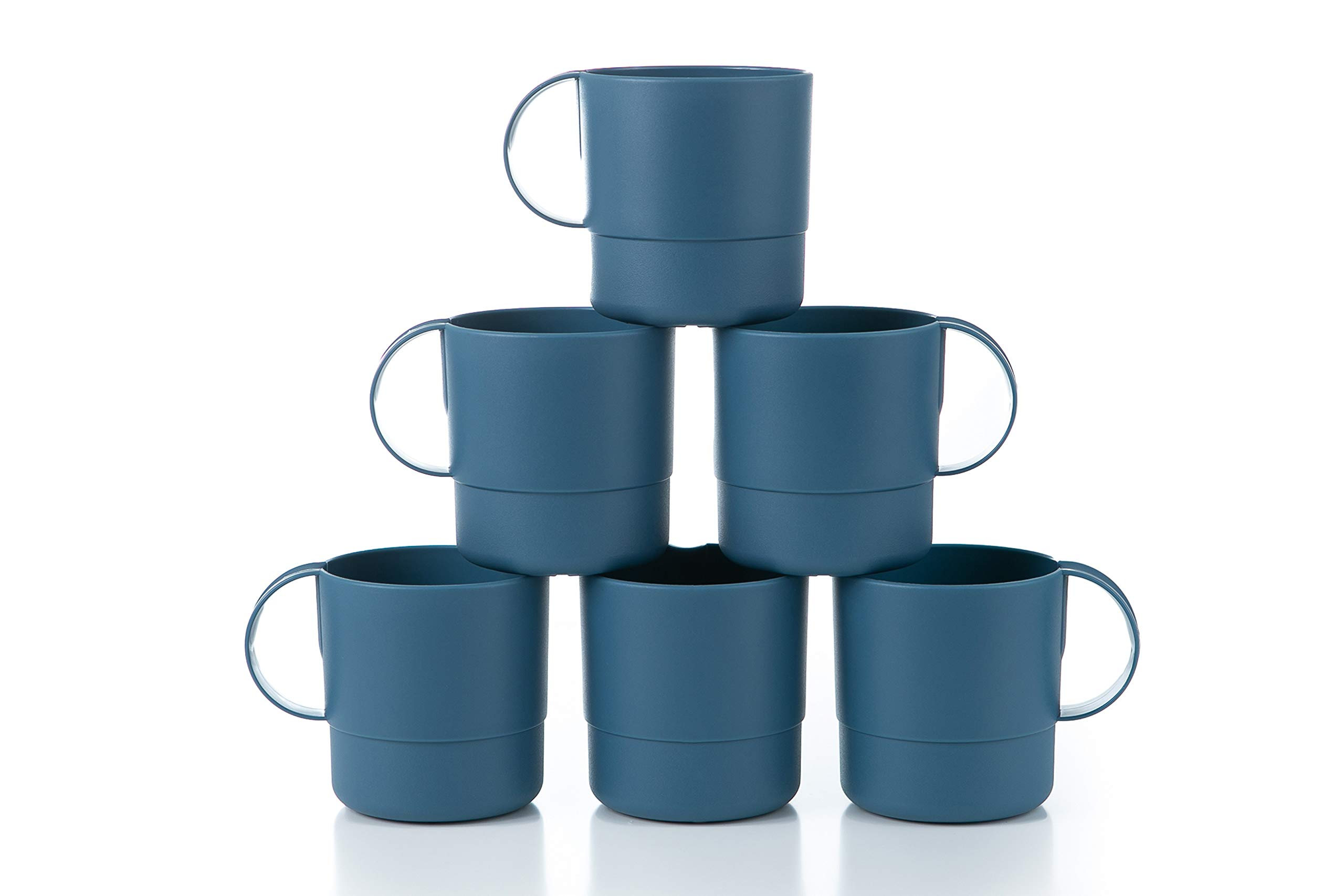 Amuse- Eco Friendly Sturdy Unbreakable & Stackable Mugs for Water, Coffee, Milk, Juice, Tea- Set of 6-11 oz (Blue)