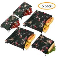 Reusable Sandwich Bags Snack Bags - Set of 5 Pack, Dual Layer Lunch Bags with Zipper, Dishwasher Safe, Eco Friendly Food Wraps, BPA-Free. (Flower)