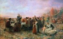 The First Thanksgiving Nat Plymouth Massachusetts Oil On Canvas 1914 By Jennie A Brownscombe Poster Print by (24 x 36)