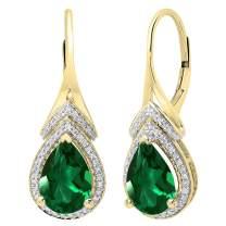 Dazzlingrock Collection 14K 10X7 MM Each Pear Lab Created Gemstone & Round Diamond Ladies Teardrop Drop Earrings, Yellow Gold