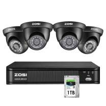 ZOSI 1080p Security Camera System for Home, 8 Channel CCTV DVR Recorder with Hard Drive 1TB and 4 x 1080p Indoor/Outdoor Surveillance Dome Camera,Remote Access, Customize Motion Detection