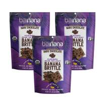 Barnana Organic Crunchy Banana Brittle - Double Chunk Dark Chocolate - 3.5 Ounce, 3 Pack Brittle - Healthy Vegan Cookie Style Dessert Snack - Made with Sustainable, Eco Friendly Upcycled Bananas