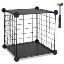 TUMUCUTE Wire Storage Cube, Metal Storage Shelves Bookshelf, Stackable Modular Closet Organizer for Bedroom Living Room, Office, Black