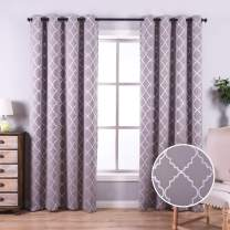 Anjee Blackout Curtains with Moroccan Pattern for Bedroom, 84 Inch Blackout Window Drapes with Grommet Top for Window Treatment, 52 x 84 Inch, Grey