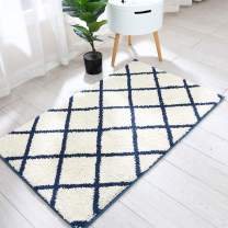 Trellis Area Rug Made of 100% Polyester Extra Soft and Non Slip,Specialized in Machine Washable Accent Rug(Navy,45x27 Inch )