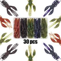 XFISHMAN Crawfish-Lures-Bass-Fishing-Jig-Trailers-Soft Plastic 25/30 pk Shrimp Creature Crawdad Baits Kit 2 Huge Pinchers 3-4in