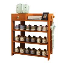 """Jerry & Maggie -Wood MDF Board Shoe Rack Shelf with One Drawer Clothes Rack Shoe Storage Shelves Free Standing Flat Racks Classic Style - Multi Function Shelf Organizer (NATURAL WOOD, 30"""" x 12"""" x 25"""")"""